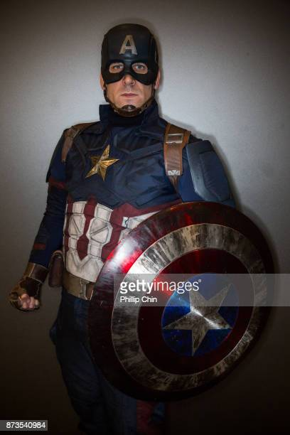 Cosplayer dressed as Captain America attends Fan Expo Vancouver at Vancouver Convention Centre on November 12 2017 in Vancouver Canada