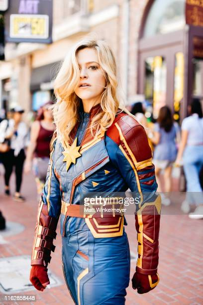 Cosplayer dressed as Captain Marvel attends the 2019 Comic-Con International on July 18, 2019 in San Diego, California.