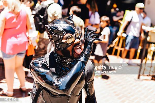 Cosplayer dressed as Catwoman attends the 2019 Comic-Con International on July 20, 2019 in San Diego, California.