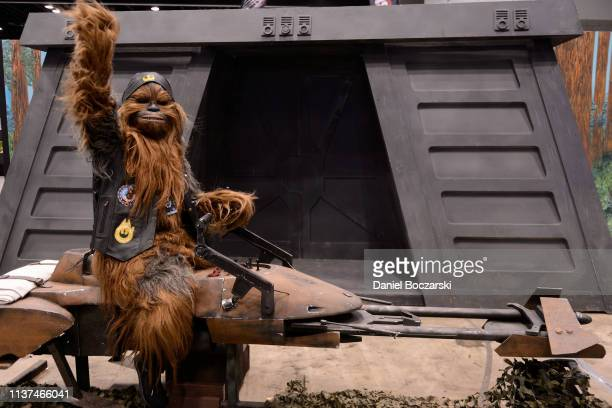 Cosplayer dressed as Chewbacca attends Star Wars Celebration at McCormick Place Convention Center on April 15, 2019 in Chicago, Illinois.