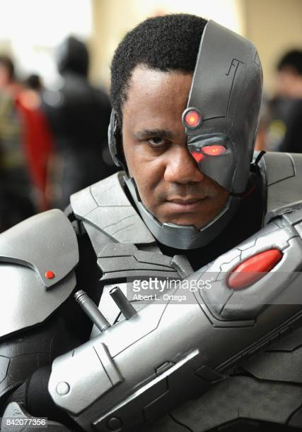 Cosplayer dressed as Cyborg attends the 2017 Long Beach Comic Con held at the Long Beach Convention Center on September 2 2017 in Long Beach...