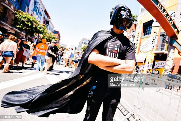 Cosplayer dressed as Darth Vader attend the 2019 Comic-Con International on July 20, 2019 in San Diego, California.