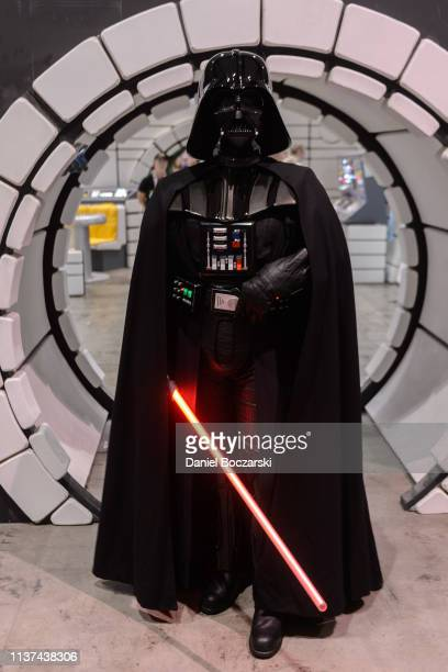 A cosplayer dressed as Darth Vader attends Star Wars Celebration at McCormick Place Convention Center on April 14 2019 in Chicago Illinois