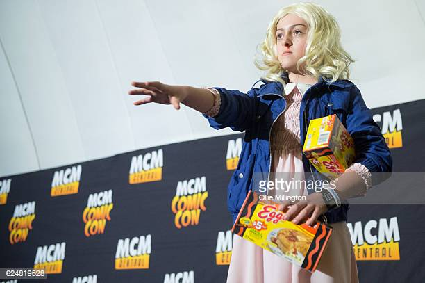 Cosplayer dressed as Eleven from Stranger Things on day 2 of the November Birmingham MCM Comic Con at the National Exhibition Centre in Birmingham,...