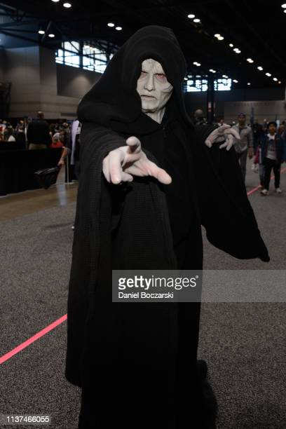 Cosplayer dressed as Emperor Palpatine attends Star Wars Celebration at McCormick Place Convention Center on April 15, 2019 in Chicago, Illinois.