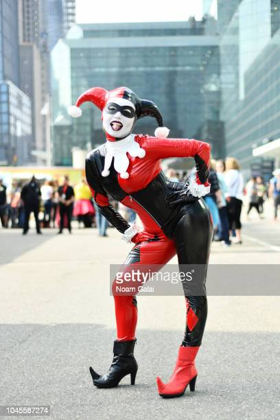 A cosplayer dressed as Harley Quinn during New York Comic Con 2018 at Jacob K Javits Convention Center on October 4 2018 in New York City