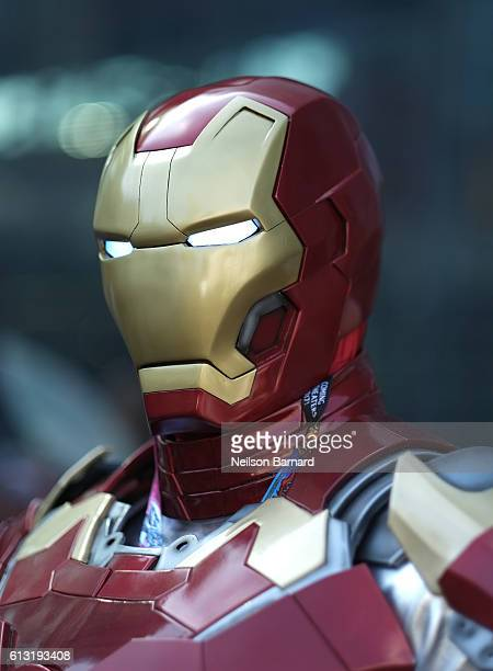 A cosplayer dressed as Iron Man attends the New York Comic Con 2016 at The Jacob K Javits Convention Center on October 7 2016 in New York City New...