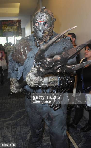Cosplayer dressed as Jason Voorhees attends Day 2 of the 2017 Son Of Monsterpalooza Convention held at Marriott Burbank Airport Hotel on September 16...