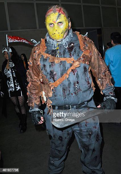 Cosplayer dressed as Jason Voorhees from Friday The 13th attends Day 2 of the Third Annual Stan Lee's Comikaze Expo held at Los Angeles Convention...