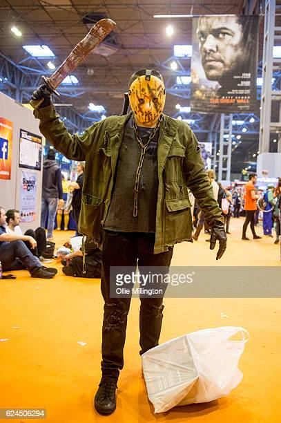 A cosplayer dressed as Jason Voorhees the main character from the Friday the 13th series during day 1 of the November Birmingham MCM Comic Con at the...