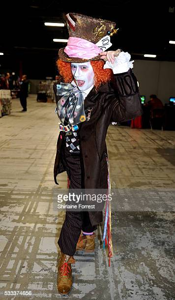 Cosplayer dressed as Johnny Depp's Mad Hatter attends Film Comic Con Manchester at Event City on May 21 2016 in Manchester England
