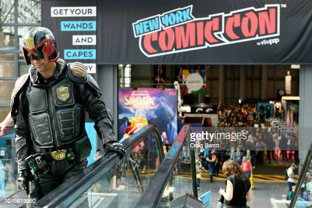 A cosplayer dressed as Judge Dredd during New York Comic Con 2018 at Jacob K Javits Convention Center on October 4 2018 in New York City