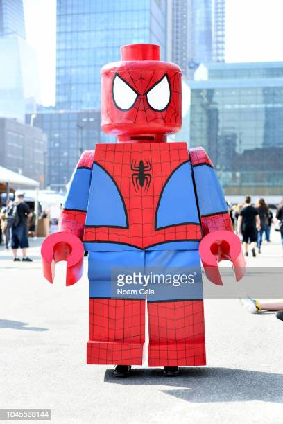 A cosplayer dressed as Lego SpiderMan during New York Comic Con 2018 at Jacob K Javits Convention Center on October 4 2018 in New York City