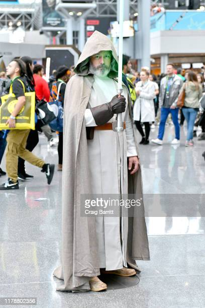 A cosplayer dressed as Luke Skywalker attends the New York Comic Con at Jacob K Javits Convention Center on October 03 2019 in New York City