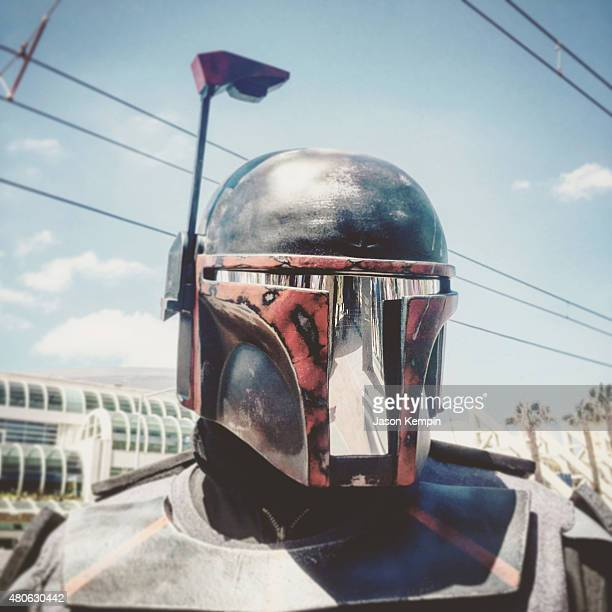 """Cosplayer dressed as Mandalorian from """"Star Wars"""" attends Comic-Con International 2015 at the San Diego Convention Center on July 9, 2015 in San..."""
