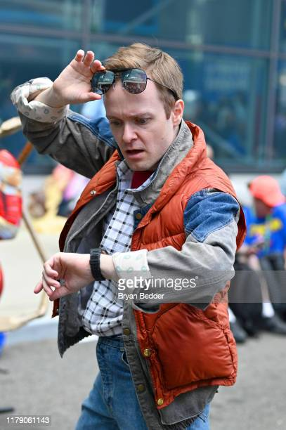 A cosplayer dressed as Marty McFly from Back To The Future attends New York Comic Con 2019 Day 2 at Jacobs Javits Center on October 04 2019 in New...