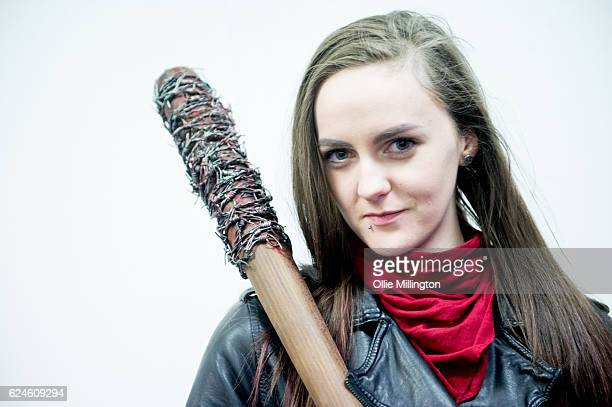 A cosplayer dressed as Negan from The Walking Dead on day 2 of the November Birmingham MCM Comic Con at the National Exhibition Centre in Birmingham...