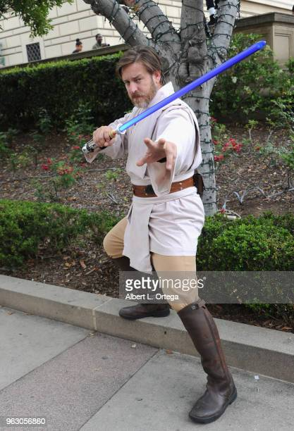 Cosplayer dressed as Obi Wan Kenobi attends the Anime Pasadena 2018 Cosplay And Nerd Convention held at Pasadena Convention Center on May 26, 2018 in...