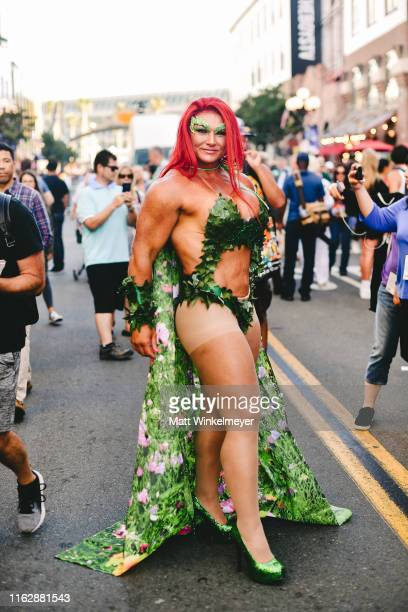 Cosplayer dressed as Poison Ivy attend the 2019 Comic-Con International on July 18, 2019 in San Diego, California.