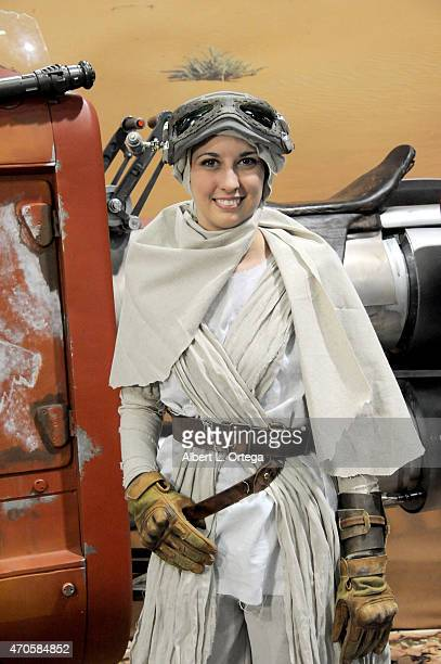 Cosplayer dressed as Rey from 'Star Wars Force Awakens' at Day One of Disney's 2015 Star Wars Celebration held at the Anaheim Convention Center on...