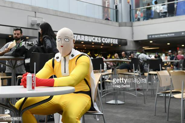 A cosplayer dressed as Saitama from One Punch Man during New York Comic Con 2018 at Jacob K Javits Convention Center on October 4 2018 in New York...