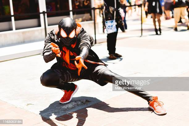 Cosplayer dressed as Spider-Man attends the 2019 Comic-Con International on July 19, 2019 in San Diego, California.