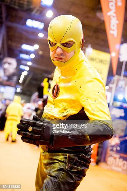 A cosplayer dressed as The Flash on day 2 of the November Birmingham MCM Comic Con at the National Exhibition Centre in Birmingham UK on November 20...