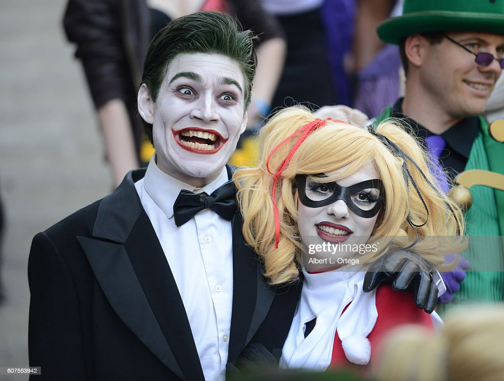 Cosplayer dressed as The Joker and Harley Quinn attend the Long Beach Comic Con held at Long Beach Convention Center on September 17, 2016 in Long Beach, California.