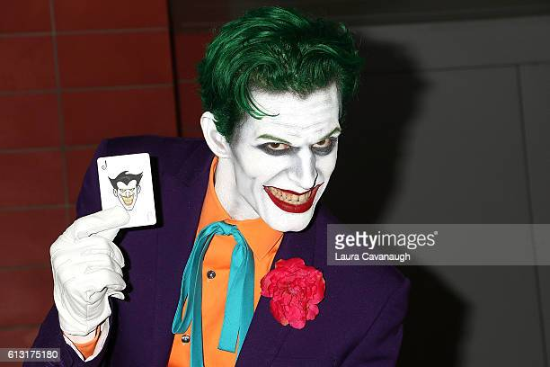 A cosplayer dressed as the Joker attends 2016 New York Comic Con Day 2 on October 7 2016 in New York City