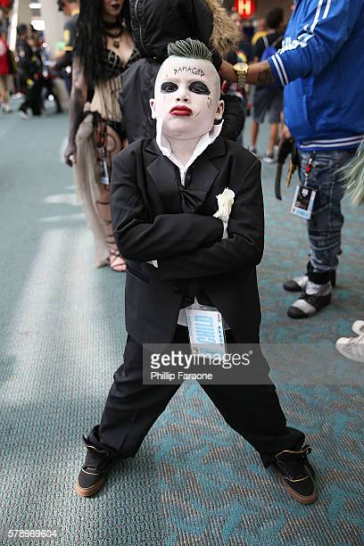 A cosplayer dressed as The Joker attends ComicCon International 2016 on July 22 2016 in San Diego California
