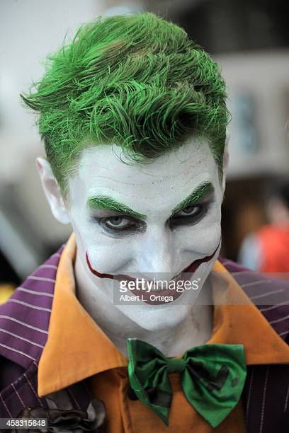 Cosplayer dressed as The Joker attends Day 3 of the Third Annual Stan Lee's Comikaze Expo held at Los Angeles Convention Center on November 2 2014 in...