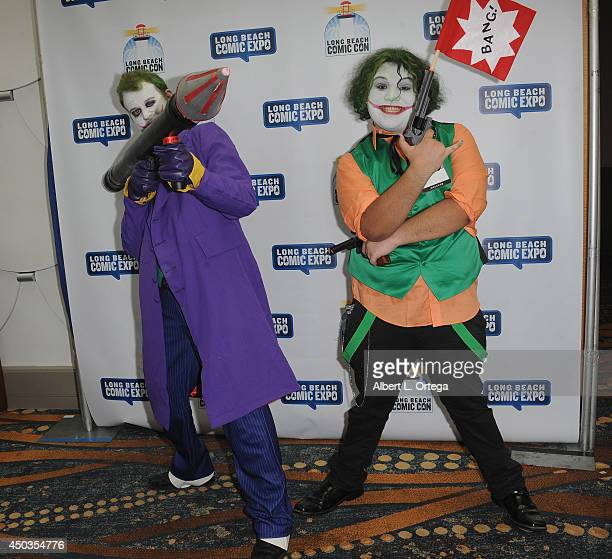 A cosplayer dressed as The Joker attends the 2014 Long Beach Comic Expo at the Long Beach Convention Center on May 31 2014 in Long Beach California