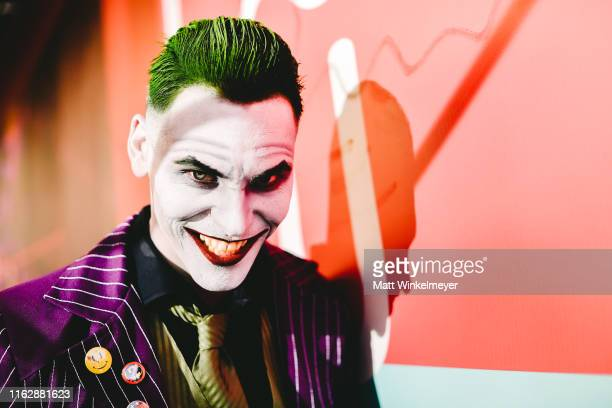 Cosplayer dressed as The Joker attends the 2019 Comic-Con International on July 18, 2019 in San Diego, California.