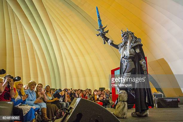 Cosplayer dressed as The Litch King from World of Warcraft on day 2 of the November Birmingham MCM Comic Con at the National Exhibition Centre in...