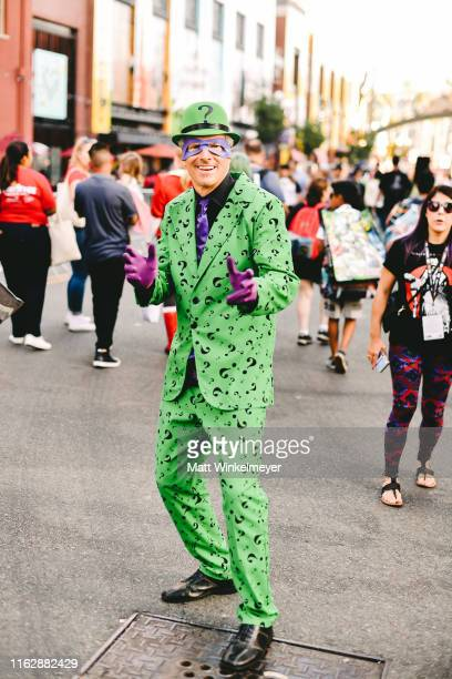Cosplayer dressed as the Riddler attends the 2019 Comic-Con International on July 18, 2019 in San Diego, California.