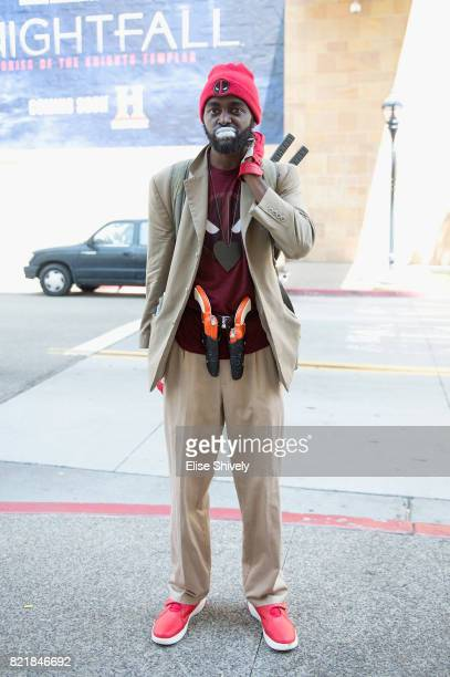 A cosplayer dressed as TyronePool attends the 2017 ComicCon International on July 21 2017 in San Diego California
