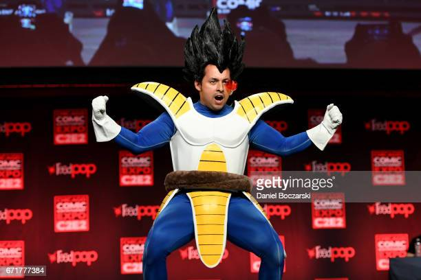 A cosplayer dressed as Vegeta from 'Dragon Ball Z' attends the C2E2 Crown Champions of Cosplay at McCormick Place on April 22 2017 in Chicago Illinois