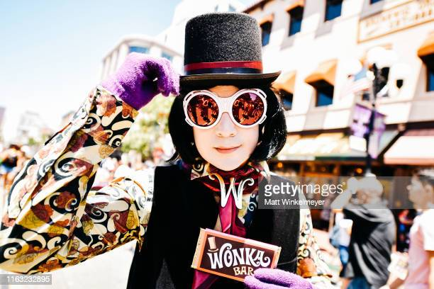 Cosplayer dressed as Willy Wonka attends the 2019 Comic-Con International on July 20, 2019 in San Diego, California.