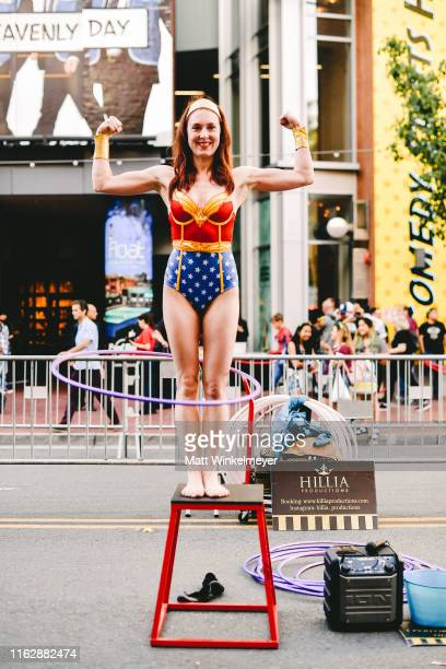 Cosplayer dressed as Wonder Woman attend the 2019 Comic-Con International on July 18, 2019 in San Diego, California.