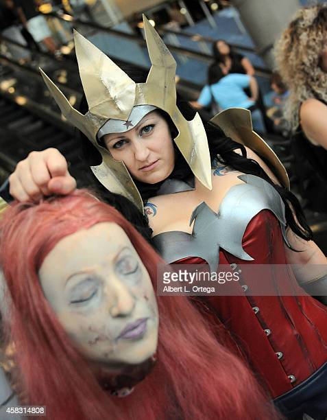Cosplayer dressed as Wonder Woman attends Day 3 of the Third Annual Stan Lee's Comikaze Expo held at Los Angeles Convention Center on November 2 2014...