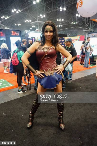A cosplayer dressed as Wonder Woman attends the 2017 New York Comic Con on October 8 2017 in New York City