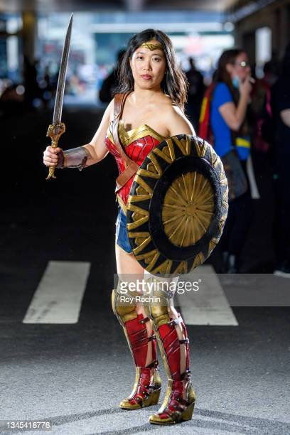 Cosplayer dressed as Wonder Woman from the DC Universe during the first day of Comic Con at Javits Center on October 07, 2021 in New York City.