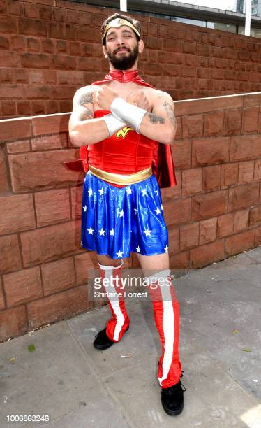 A cosplayer dressed as Wonder Woman poses during MCM Comic Con 2018 at Manchester Central on July 28 2018 in Manchester England