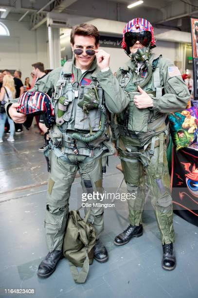 A cosplayer duo in character as Lt Pete Maverick Mitchell and LTJG Nick 'Goose' Bradshaw from Top Gun seen during London Film and Comic Con 2019 at...
