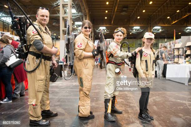 A cosplayer family in character as the Ghostbusters at The Birmingham Film and Comic Con Collectormaina 24 at NEC Arena on June 4 2017 in Birmingham...