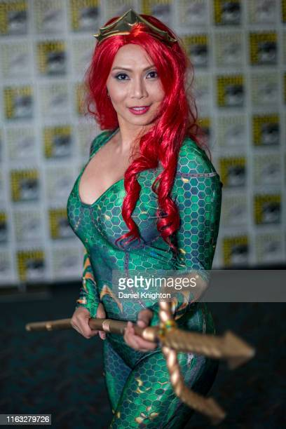 Cosplayer Fines Pena as Mera from Aquaman at 2019 ComicCon International on July 20 2019 in San Diego California