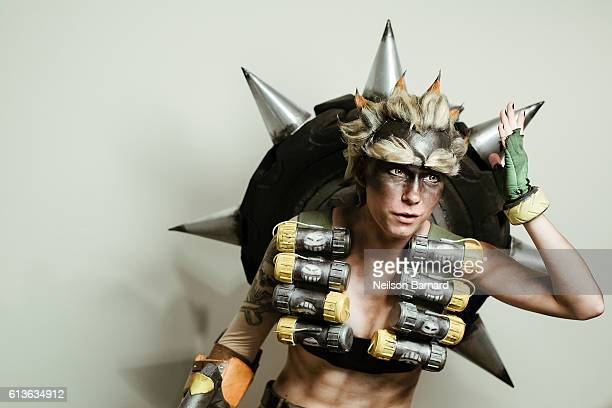 Cosplayer Hanari Solomon as 'Junkrat' from Overwatch backstage before being judged for the NYCC Eastern Championships of Cosplay during 2016 New York...