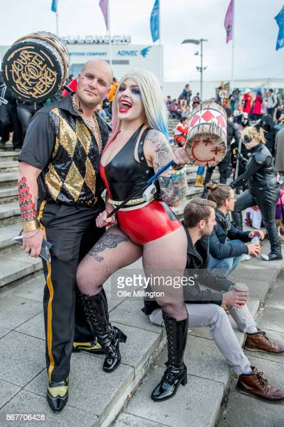 A cosplayer in character as a Gender Bend Nightclub Suicide Squad Harley Quinn and a latex Harley Quinn during MCM London Comic Con 2017 held at the...