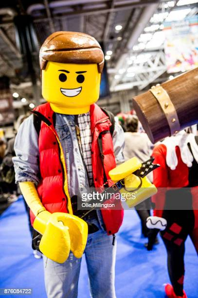 A cosplayer in character as a Lego Marty McFly during the Birmingham MCM Comic Con held at NEC Arena on November 18 2017 in Birmingham England