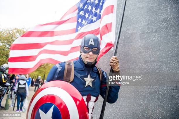 A cosplayer in character as Captain America seen during Day 2 of MCM London Comic Con 2018 at ExCel on October 27 2018 in London England